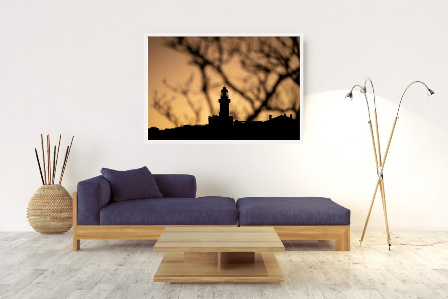 LIGHTHOUSE-SHADOWS-BYRON-BAY-Box-Frame-(White)-No-Border