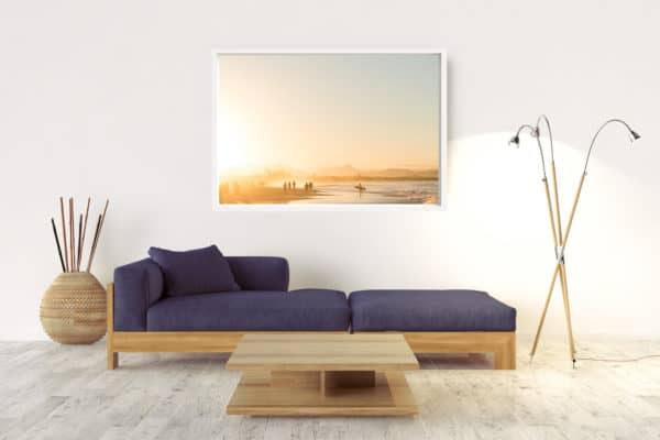 Sunset At Belongil Beach | Byron Bay - Box Frame (White) - No Border